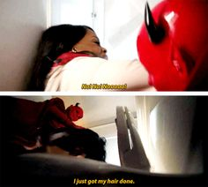 """Denise while being attacked by the Red Devil in Scream Queens """"Ghost Stories"""""""