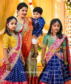 Half Saree Lehenga, Kids Lehenga, Kids Frocks, Frocks For Girls, Baby Girl Dresses, Baby Dress, Kids Blouse Designs, Mother Daughter Fashion, Wedding Saree Collection