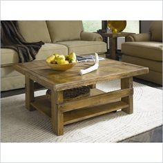 Hammary Luberon Square Cocktail Table in Weathered Pine Finish - 040-912