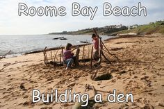 Making a den on Roome Bay Beach - photograph by Susan McNaughton of Sandcastle Cottage (http://www.2crail.com)