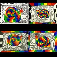 rainbow snails #3rdgrade #elementaryartlesson #elementaryart #rainbow #roygbiv
