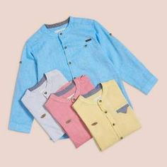 #Enhance your loving one's #overall look with this #grandad #collar #shirt! Explore our #best #shirts for #kids that are #soft and #comfortable to #wear all day long. Grandad Collar Shirt, Grandad Shirts, Collar Shirts, Boys Clothes Online, Made Clothing, Online Collections, Boy Blue, Cotton Style, Blue Fashion