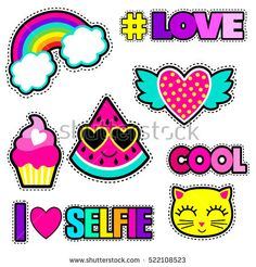 Set of cute stickers and different elements with watermelon, rainbow, cake, heart, cat and words.Girlish stickers in bright colors isolated on white b. Cartoon Stickers, Tumblr Stickers, Cute Stickers, Unicornios Wallpaper, Cartoon Heart, Cartoon Cats, Cat Background, Super Cat, Aesthetic Stickers