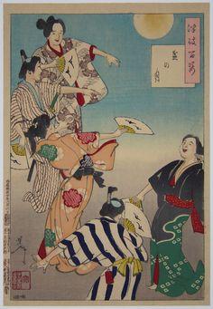YOSHITOSHI Tsukioka. (1839-1892) Bon Festival Moon. 1/1887