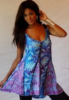 BLUE PURPLE TOP CAMI STRAPS INSET LACE SEXY BATIK - FITS (ONE SIZE) - L 1X 2X - Z462S LOTUSTRADERS LOTUSTRADERS. $45.99