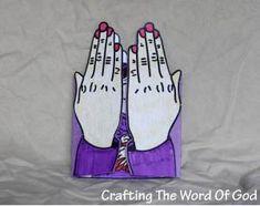 Hannah's Prayer - Praying Hands craft. Opens to show Hannah holding baby Samuel