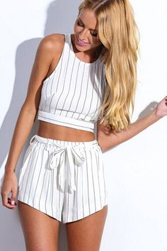 Cheap Sexy Striped White Polyester Two-piece Regular Jumpsuit(Top+Shorts)_Jumpsuits_Bottoms_Womens Clothing_LovelyWholesale | Wholesale Shoes,Wholesale Clothing, Cheap Clothes,Cheap Shoes Online. - LovelyWholesale.com