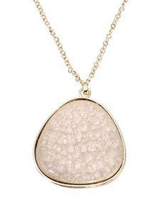 Lange Halskette mit ungleichmäßigem Keramik-Anhänger | Pink | Accessorize