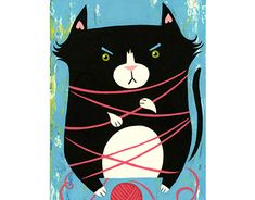 Cat with Yarn Working On Myself, New Work, Behance, Kids Rugs, Illustrations, Cats, Gallery, Check, Animals