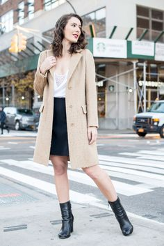 Camel Coat, Silk and Lace camisole, flared skirt, leather boots