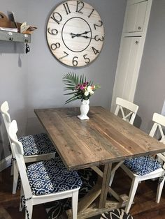 Rustic Farm Farmhouse Dining Table | Etsy Rustic Kitchen Tables, Modern Farmhouse Table, Rustic Farmhouse Table, Farmhouse Chairs, Farmhouse Living Room Furniture, Kitchen Furniture, Dining Room Table Centerpieces, Trestle Dining Tables, Plank Table