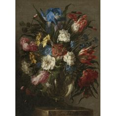 Juan de Arellano SANTORCAZ 1614 - 1676 MADRID STILL LIFE OF TULIPS, ROSES, PEONIES, IRIS AND OTHER FLOWERS IN A GLASS VASE, RESTING ON A TABLE signed lower center: Juan de Arellano (slightly strengthened) oil on canvas