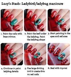 Lucy's Stash: Ladybird/ladybug manicure tutorial http://www.lucysstash.com/2012/06/ladybirdladybug-manicure-with-tutorial.html