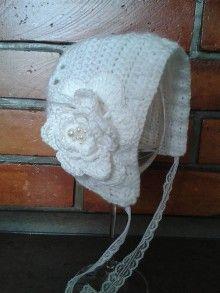 Detské čiapky - Biela čiapočka s kvietkom - 5834528_
