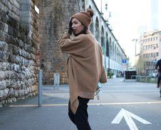 Oversized coat by Paula Immich, Rebecca Minkoff mini bag/ Streetstyle Camel & blue shades