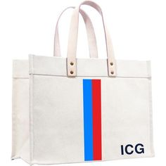 original classic canvas tote- racer stripe french blue and red by Parker Thatch