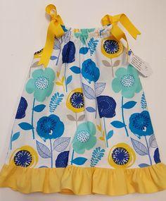 Pillow Case Dress, Yellow/blue Flowers