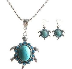 Cute Design Small Crystal Turtle Turquoise Beads Necklace Earrings Jewelry