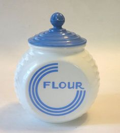 Fire King Glass Vitrock Blue Circle FLOUR Canister by Anchor Hocking