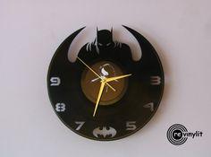 Vinyl record clock Batman Batman clock Batman art by Revinylit