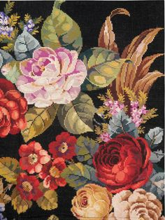View this item and discover similar for sale at - A vintage Portuguese needlepoint carpet from the third quarter of the century with a large, lifelike floral motif over a black background. Cross Stitching, Cross Stitch Embroidery, Cross Stitch Patterns, Hand Embroidery, Rug Hooking, Rugs On Carpet, Fiber Art, Needlepoint, Needlework