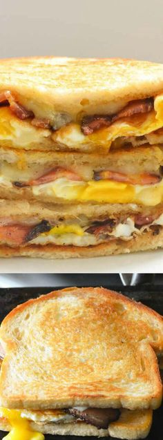 Bacon Egg Grilled Cheese Breakfast Sandwiches