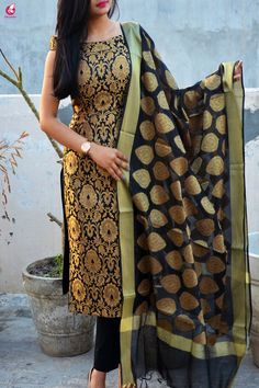 Buy Black Brocade Padded off Shoulder Kurta with Pants and Dupatta Online in India Silk Kurti Designs, Kurti Designs Party Wear, Salwar Designs, Punjabi Dress Design, Silk Dress Design, Dress Indian Style, Indian Dresses, Indian Outfits, Designer Party Wear Dresses