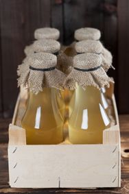 Photograph of bottles of elderflower cordial