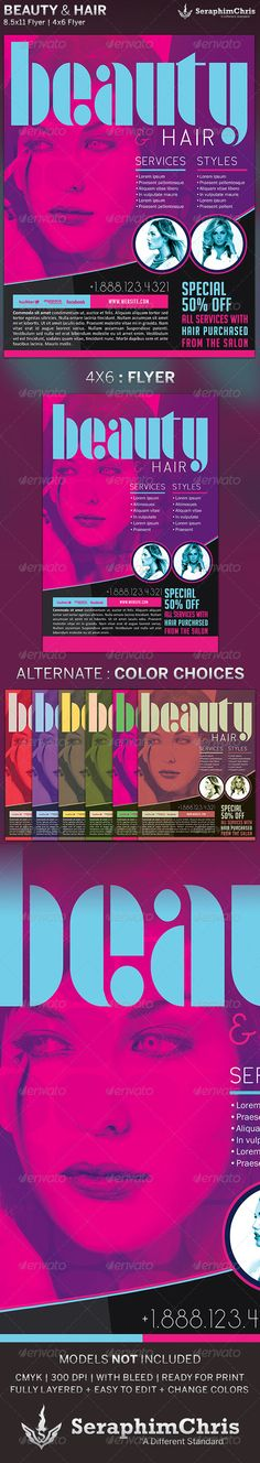 Beauty & Hair Sales Flyer Template $6.00  is customized for Hair events, Salons, or Spas that need a modern and unique look. You can change colors and drop your photo in place with ease. Add this to your promotional arsenal for maximum effect.
