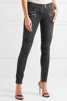 Balmain - Moto-style Distressed Low-rise Skinny Jeans - Gray - FR
