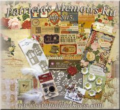 Scraps of Elegance scrapbook kits: Win our July Patricia's Memoirs Kit!  Two ways to enter, Twitter and Facebook.  Click to visit our blog for details. #Giveaway #scrapbooking