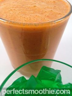 Green Jello Carrot Smoothie Recipe - Before you scoff at the strangeness of this recipe, look at the beautiful presentation, and know that this is one of our most delicious smoothies! Just the right amount of sweet and cold to provide a refreshing summer treat. The protein in the jello provides satiety, while the sweet lime flavor and the grapes compliment the smooth carrot flavor.