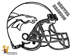 """Fired Up Football Coloring! Denver Broncos Helmet!  """"Whaat?!""""  http://www.yescoloring.com/football-helmet-coloring.html"""