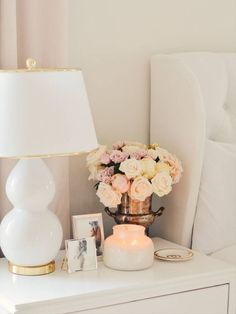 The look pays attention to details! #homeaccessories #interiordesign #designideas #modernaccessories #decor #homedecor #interiordesigninspiration #accessoriesideas Bedroom Themes, Home Decor Bedroom, Diy Room Decor, Living Room Decor, Bedrooms, White Tufted Bed, Master Bedroom Makeover, Bedroom Night Stands, Diwali Decorations