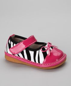 Take a look at this Zebra & Hot Pink Squeaker Mary Jane on zulily today!