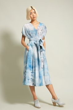 No.6 Scarlett Dress in Blue Printed Collage