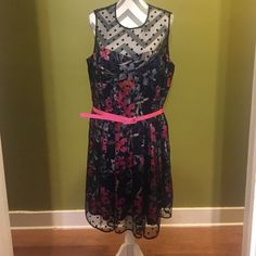 """Eliza J flowered dress Very cute Eliza J dress. Flowered underneath with black polka dot overlay. Added bra cups. Has been hemmed so flowered part hits at knee and polka dot part hangs a little lower on someone that is 5'2"""" with heels on. Eliza J Dresses"""