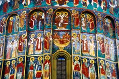 Suceviţa Monastery is one of the finest of the famous Painted Monasteries of Southern Bucovina, Romania Fresco, Tempera, Romania Facts, Romania People, Day Of Pentecost, Romania Travel, The Second City, Medieval, Mural Painting