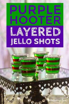 Purple Hooter Layered Jello Shots Recipe - Entertaining Diva Recipes @ From House To Home This purple and green layered jello shot recipe is awesome! Made with vodka and raspberry liqueur (eg. Chambord), they taste like a Purple Hooter cocktail. Blue Jello Shots, Making Jello Shots, Jelly Shots, Purple Jello Shots Recipe, Jello Shots With Vodka, Jello Shooters, Halloween Jello Shots, Halloween Food For Party, Halloween Ideas