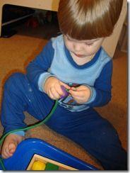 Stringing beads/pasta