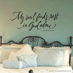 Scripture Wall Decal - My soul finds rest in God alone - Bedroom Wall Decor - Psalm Quote Wall Decal - Hand lettered Bible Verse Quote