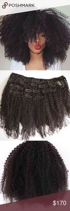 """Mongolian Afro Kinky Curly 100% Human Hair Clip x2 2 sets of 100% Human Hair Virgin Afro Kinky Curly Clip In hair extensions (14 pieces). Clip ins were originally ordered in 22"""" length in the natural color. Hair has never been dyed. 3 pieces were cut to 14"""" in length for styling purposes. This texture is HIGH MAINTENANCE hair. Hair does shed but nothing abnormal for this texture. This hair texture requires maximum hydration. Some of the clips may need to be secured as they may be coming…"""
