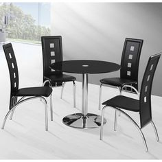 With A Sturdy #chromebase And Superb Construction, The Stella Black Glass Round  Table Comes