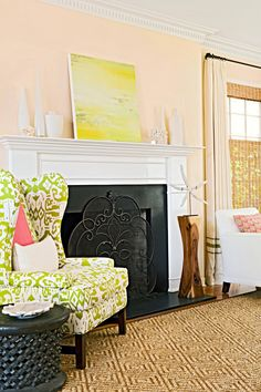 cream-living-room-white-fireplace-7382a1df Color Secundario, Living Spaces, Living Room, Yellow Walls, Bedroom Yellow, Inspired Homes, Better Homes, Decoration, Decor Styles