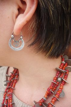 Antique Ethnic Mayan Guatemalan Silver Crescent Moon Hoop Earring with stunning White Heart Trade Bead Chachal