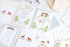 Fox and Deer Woodland illustrated wedding by JollyEdition on Etsy