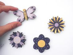 Spring Magnets Set of 4 wooden magnetsPurple and by Shellyka, $10.00