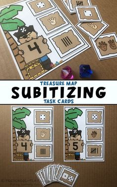 Printable Treasure Map Subitizing task cards for preschool, pre-k, kindergarten, and first grade. A fun way to practice set recognition, Part of a Number Sense Math Center Activities pack. Preschool Centers, Activity Centers, Kindergarten Math, Preschool Activities, Math Centers, Number Sense Kindergarten, Pirate Preschool, Pirate Activities, Pre K Activities