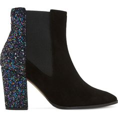 Dune Order glitter and suede chelsea boots ($74) ❤ liked on Polyvore featuring shoes, boots, ankle booties, ankle boots, heels, suede ankle boots, short heel boots, block heel boots and pointed toe booties
