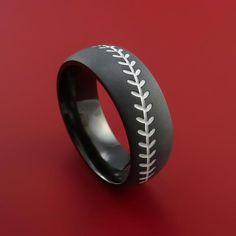Black Zirconium Baseball Ring with White Stitching and Bead Blast Finish